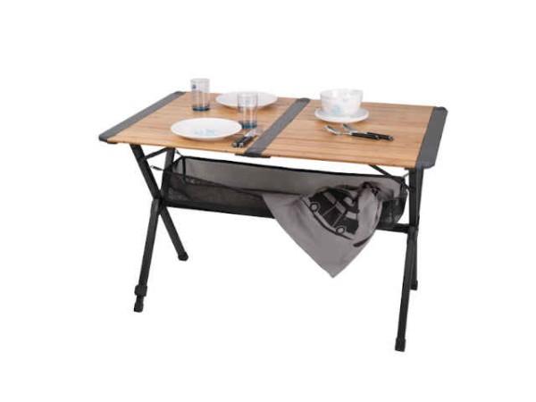 Bambus Campingtisch mit Netz - Rolltisch, dunkles Aluminiumgestell (110x70cm)