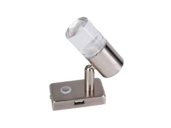 LED-Spot mit Touch-Schalter und USB-Port im Sockel