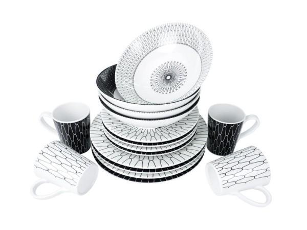 Premium 16-teiliges Melamin Geschirr Set Black&White - Camp4