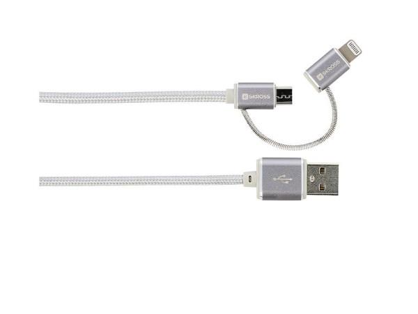 Ladekabel 2-in-1 USB zu Micro USB und Lightning Connector Steel Line Skross